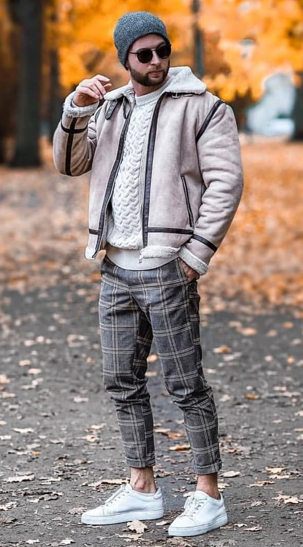 Plaid Trousers, Jacket and Sweatshirt look for fall