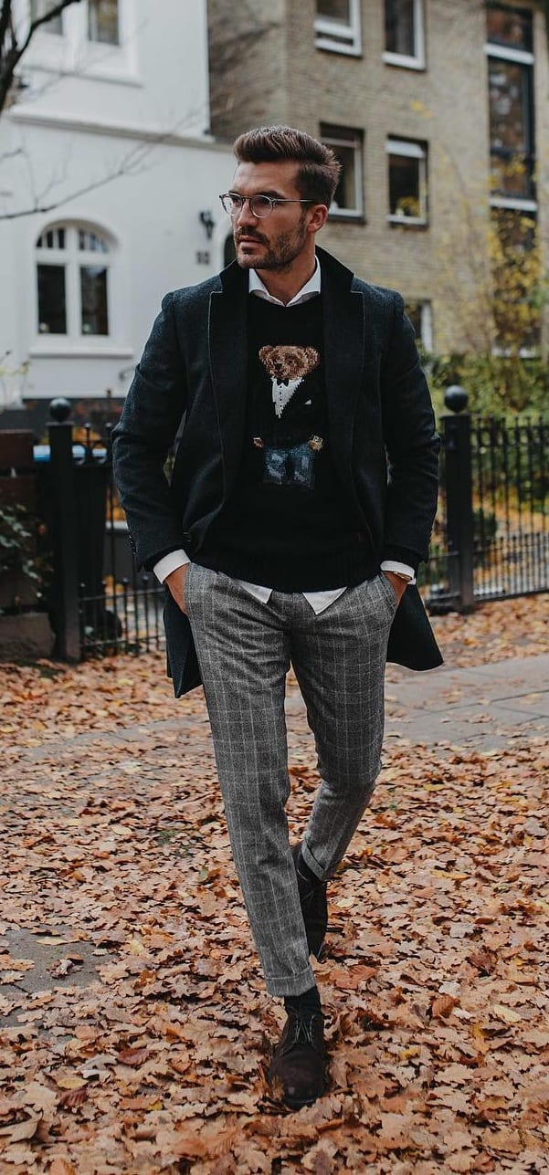 Shirt, Sweater and mens autumn coat Outfit