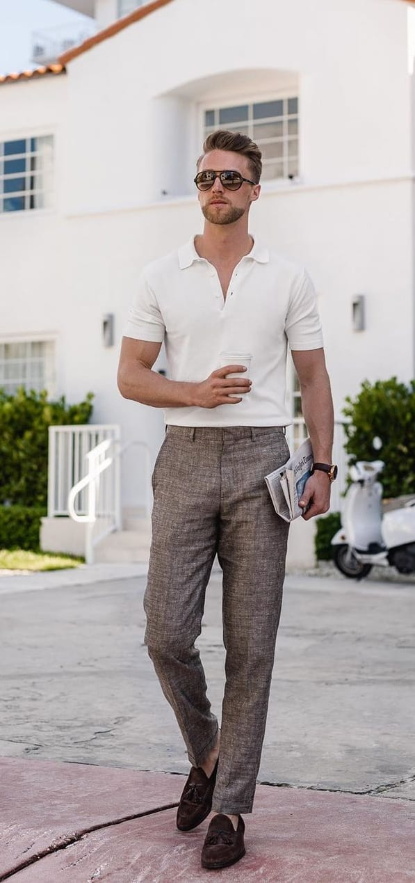 Smart Casuals- White Polo Shirt, Chinos