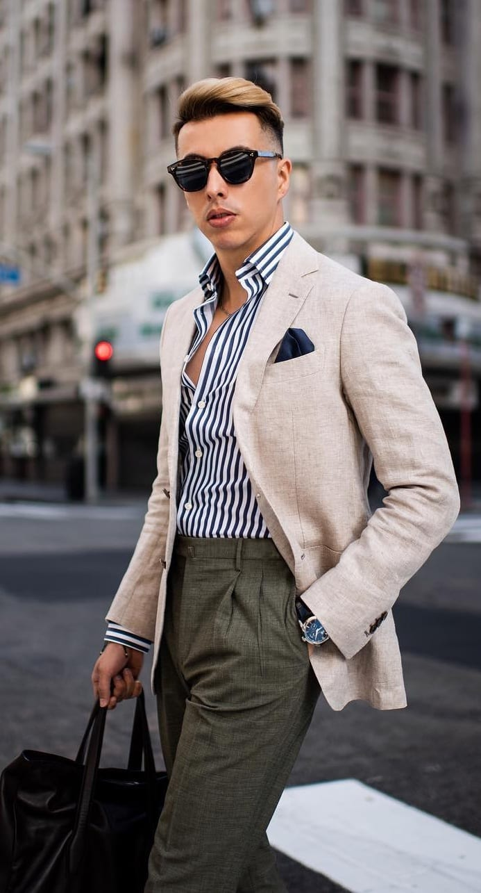 Striped Shirt,Blazer and Trousers Outfit for men