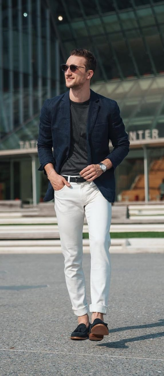 Tee,Blazer,Trousers and Loafers for a Smart Casual Wear for men