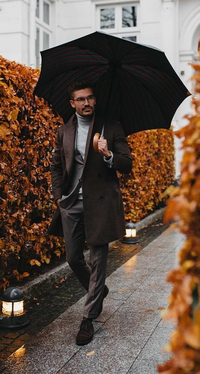 Turtleneck and Overcoat Outfit along with an umbrella for fall season