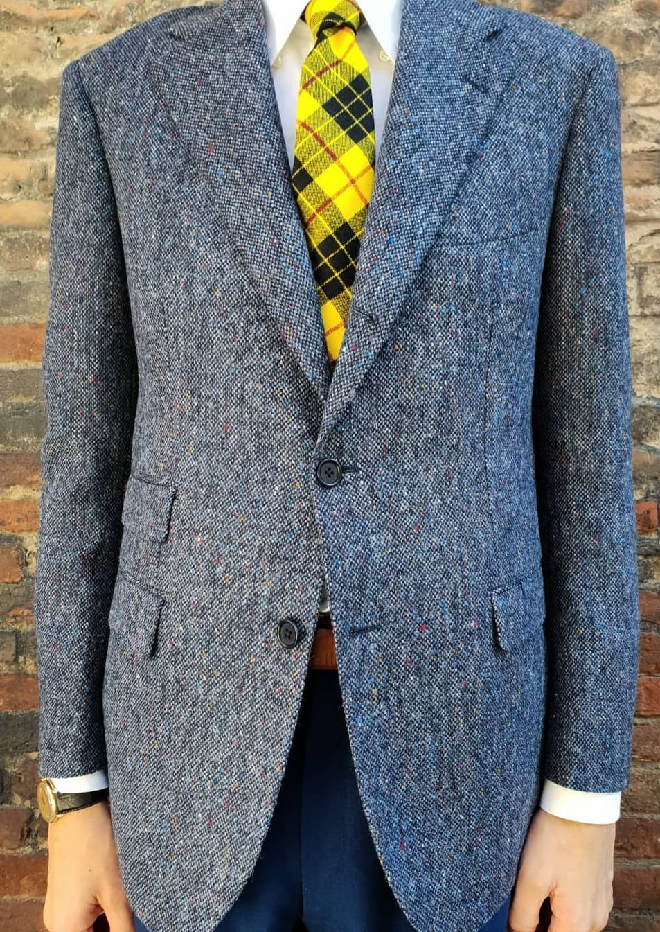 Tweed Blue Jacket Outfit for Men