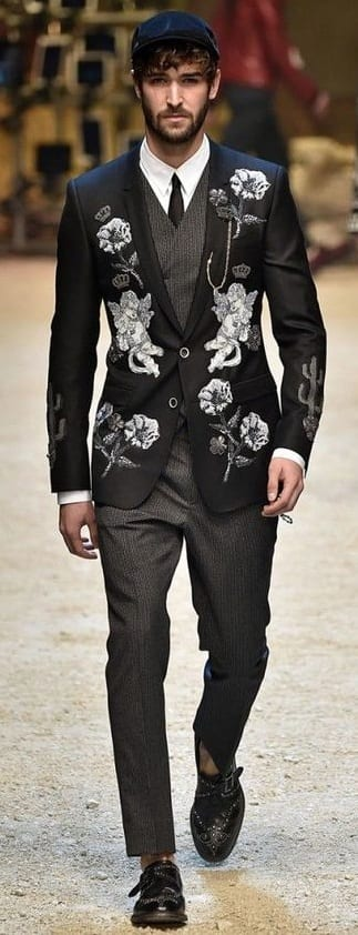 Black Embroidered Blazer Outfit For Men