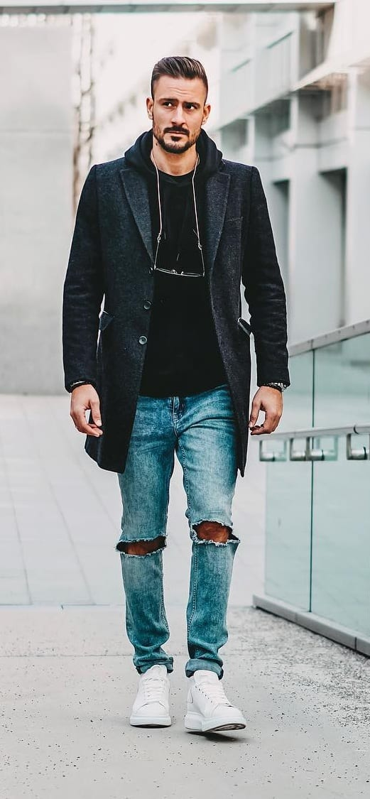 Black T shirt, Overcoat and Denim Outfit