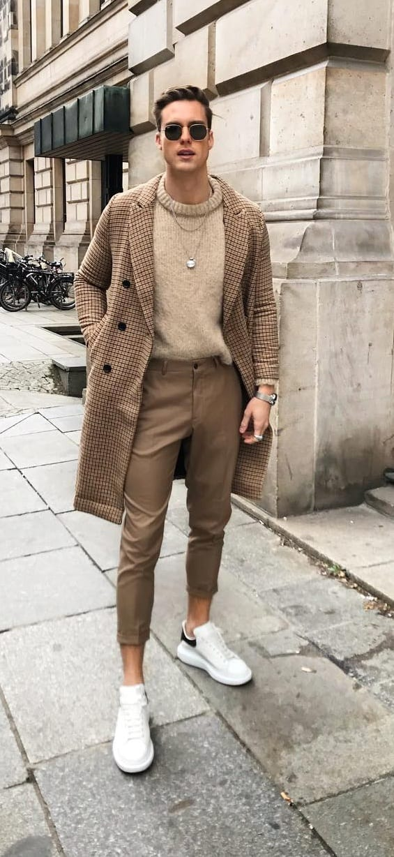 Brown Checkered Overcoat, Chinos and Round Neck Outfit for Men