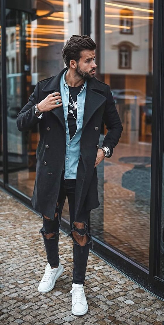 Cool Fall Look for Men -Tshirt, Denim Jacket,Overcoat and Ripped Denim