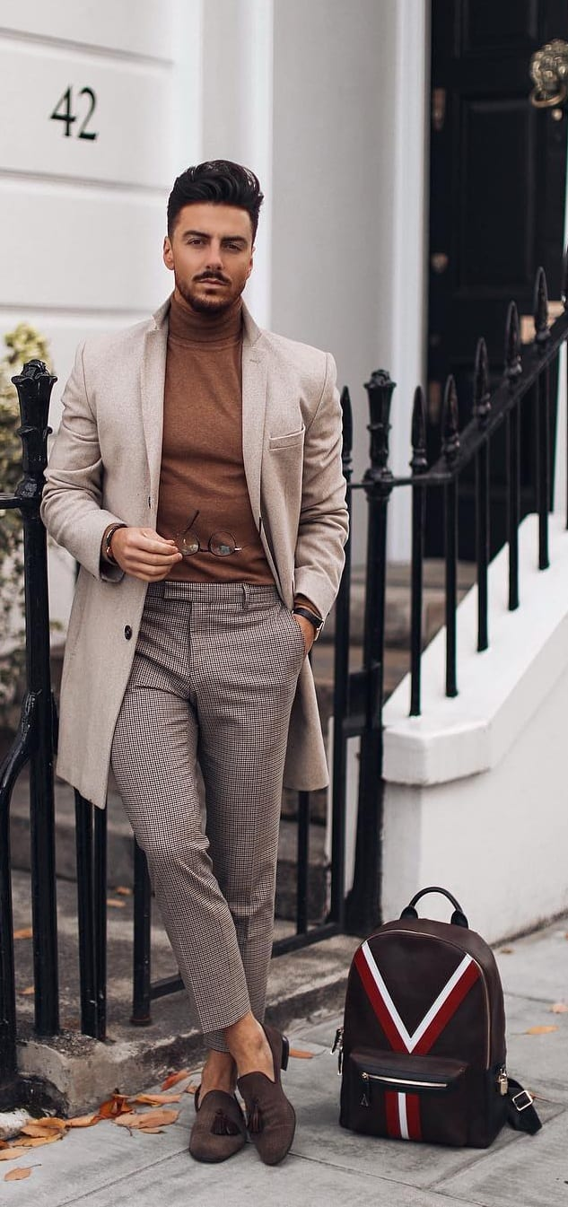 Mens Overcoat, Camel brown Sweater and Trouser Outfit