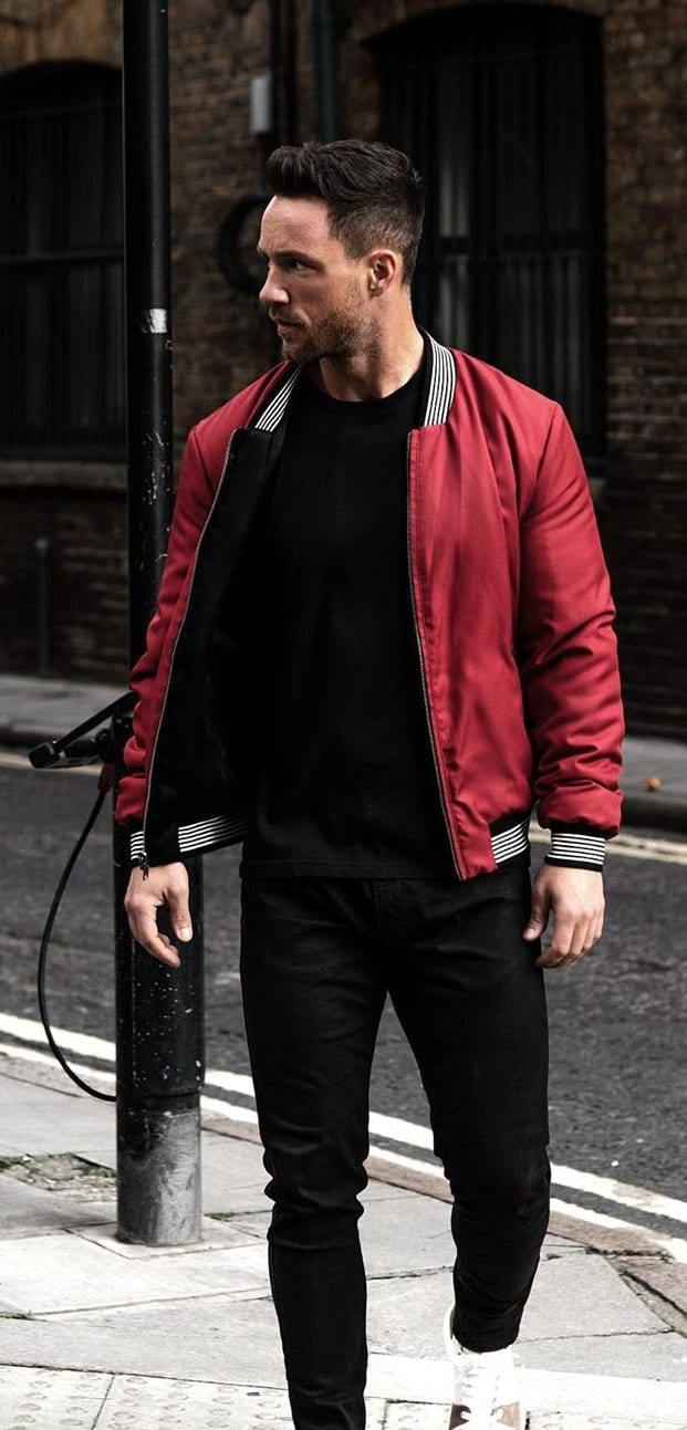 Rustic Red Bomber Jacket with Black Denims for Men