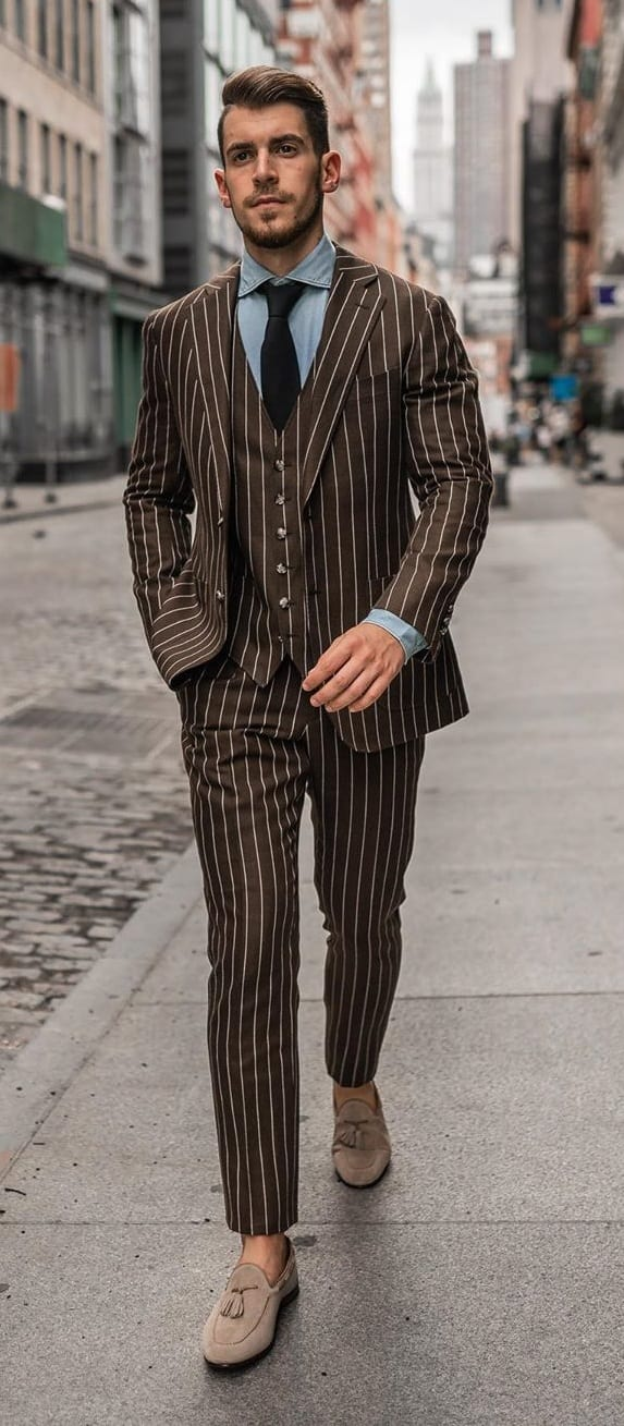 Brown Striped Suit for Men