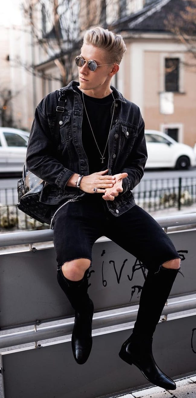 Black-Denim-Jacket -Black-T-shirt-Black-Ripped-Denim