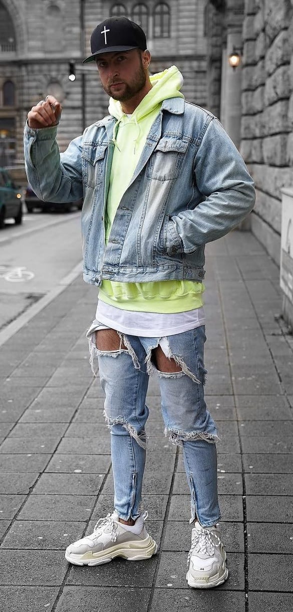Blue-denim-Jacket-Green-Hoodie-and-Blue-Ripped-Denim-Jeans