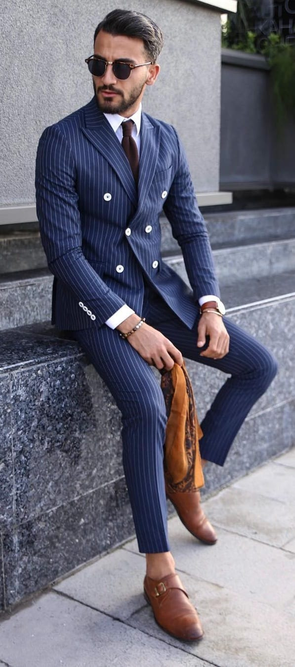 Double Breasted Blue Pinstripe Suit Ideas for Men