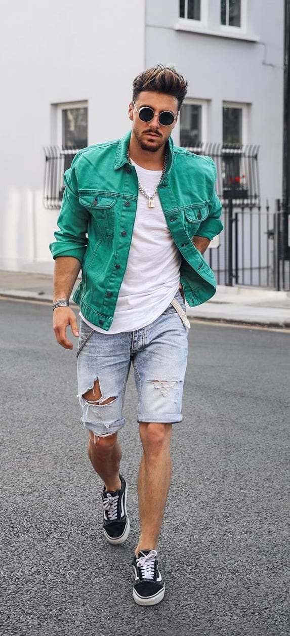 Green-Denim-Jacket-Paired-With-Denim-Shorts