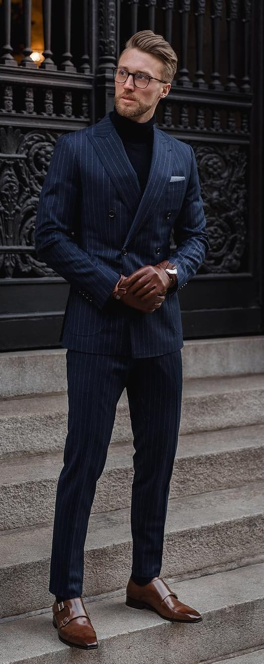 Navy Pinstripe Suit Outfit Ideas for Men