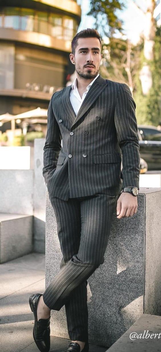 Stunning Black Pinstripe Suit for Men