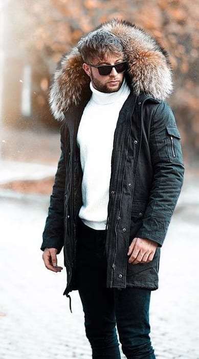 Stylish Black Parka For Winter