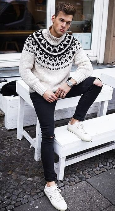 White Printed Turtleneck Sweater paired with Black Denim for Winter