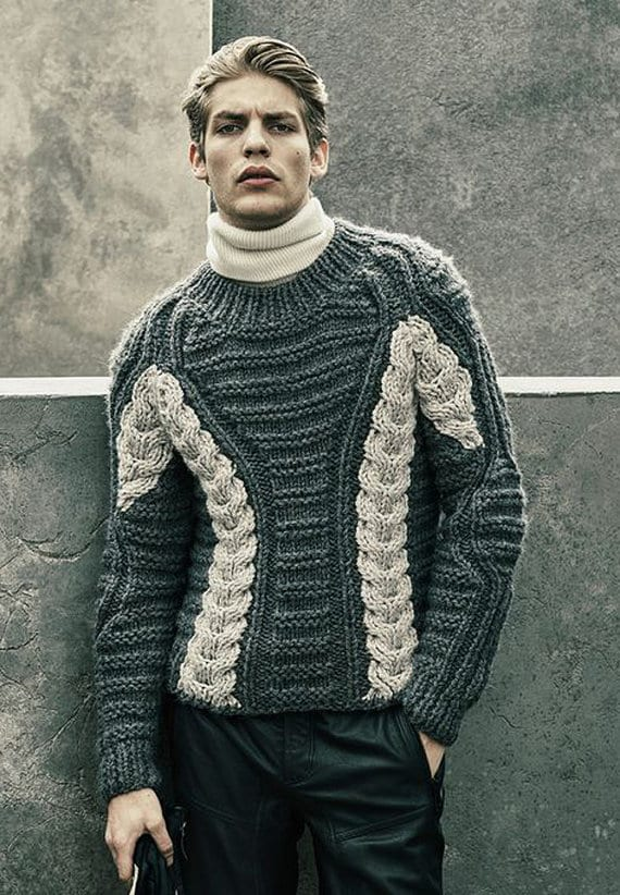 Grey-And-White-Knit-Sweater