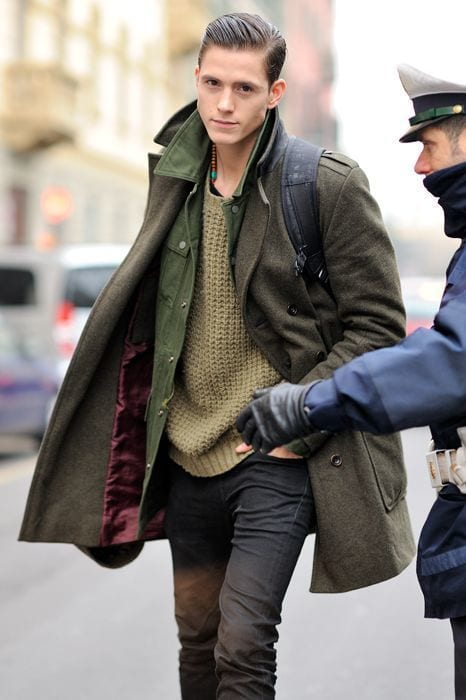 Olive-Denim-Jacket-with-Overcoat-Combination-is-dapper-1