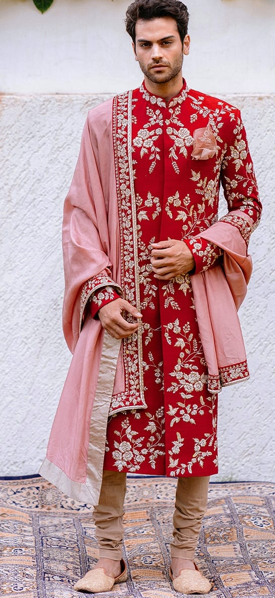 Red Sherwani with Pink Duppata for Indian Groom