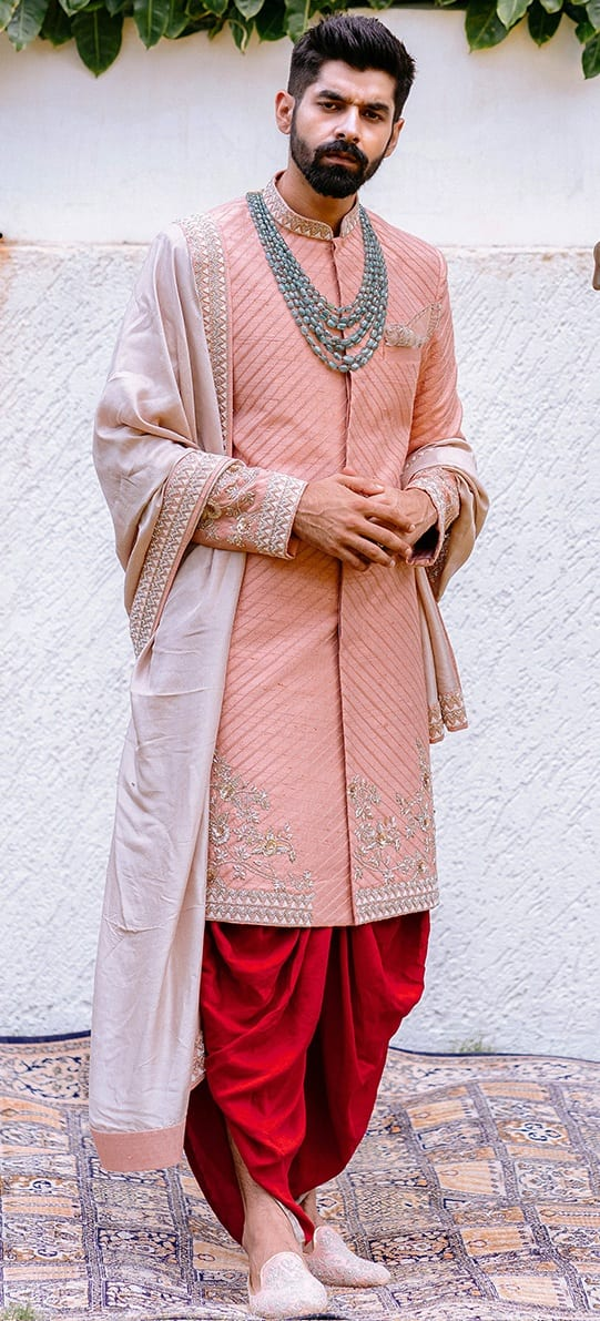 Royal Sherwani with dhoti and an ivory bordered dupatta