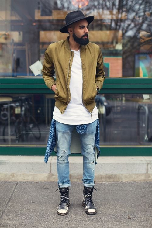 Perfect-Street-Style-look-with-Bomber-Jacket-styled-with-Destroyed-Jeans-and-a-pair-of-Boots-1