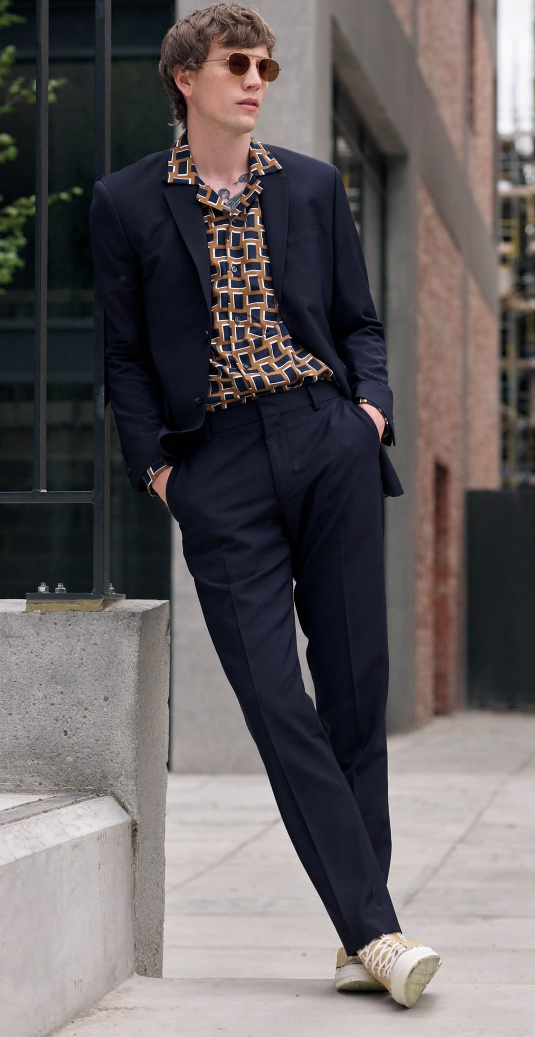 Suit paired with a Cuban Collar Shirt