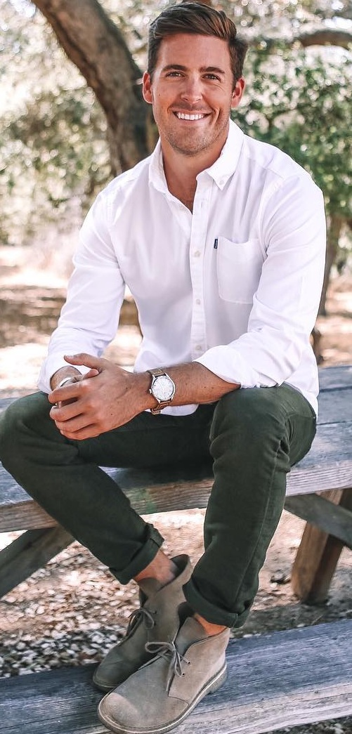White Shirt- Chinos-Boots for Men