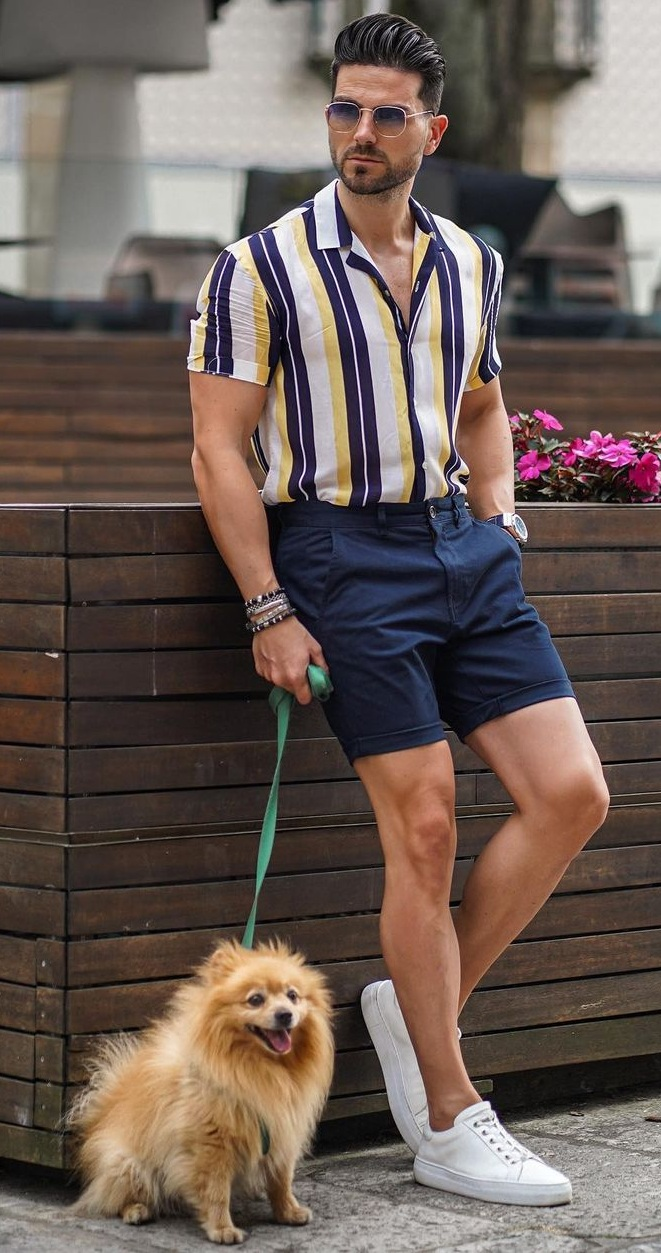 Striped Shirt- Chinos Shorts- Sunglasses-for-Summer