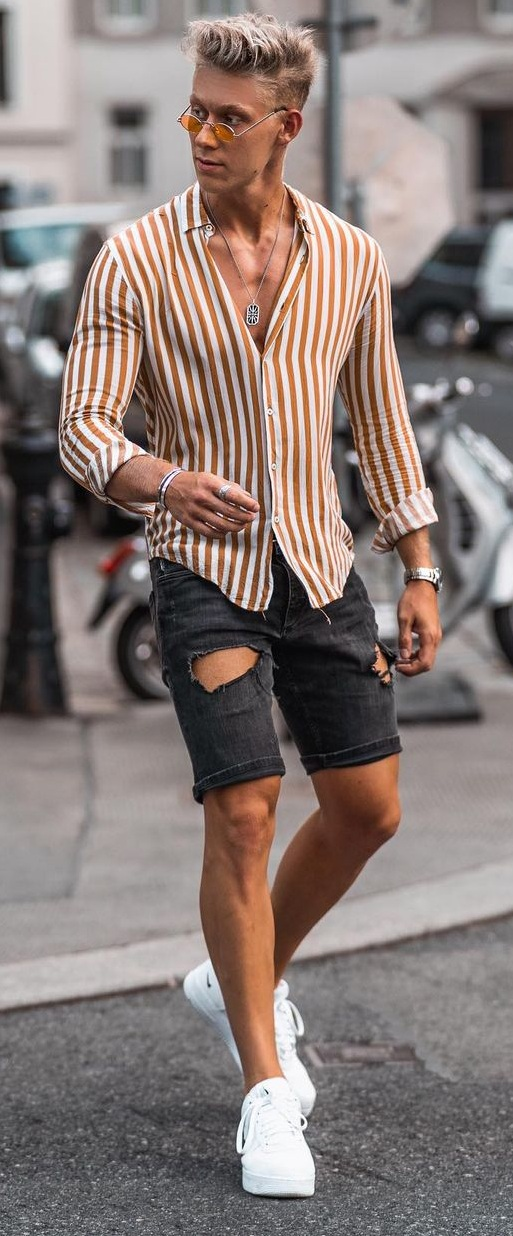 Striped Shirt and Denim Shorts Outfit Ideas