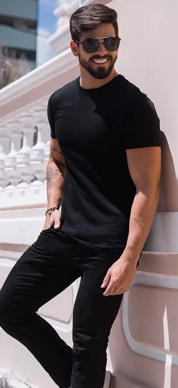 Mens Black Tee Outfits