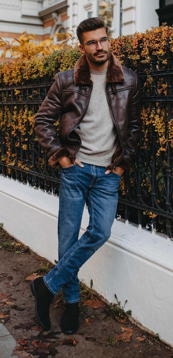 Basic Fall Outfit- Leather Jacket- Sweater- Denim Jeans
