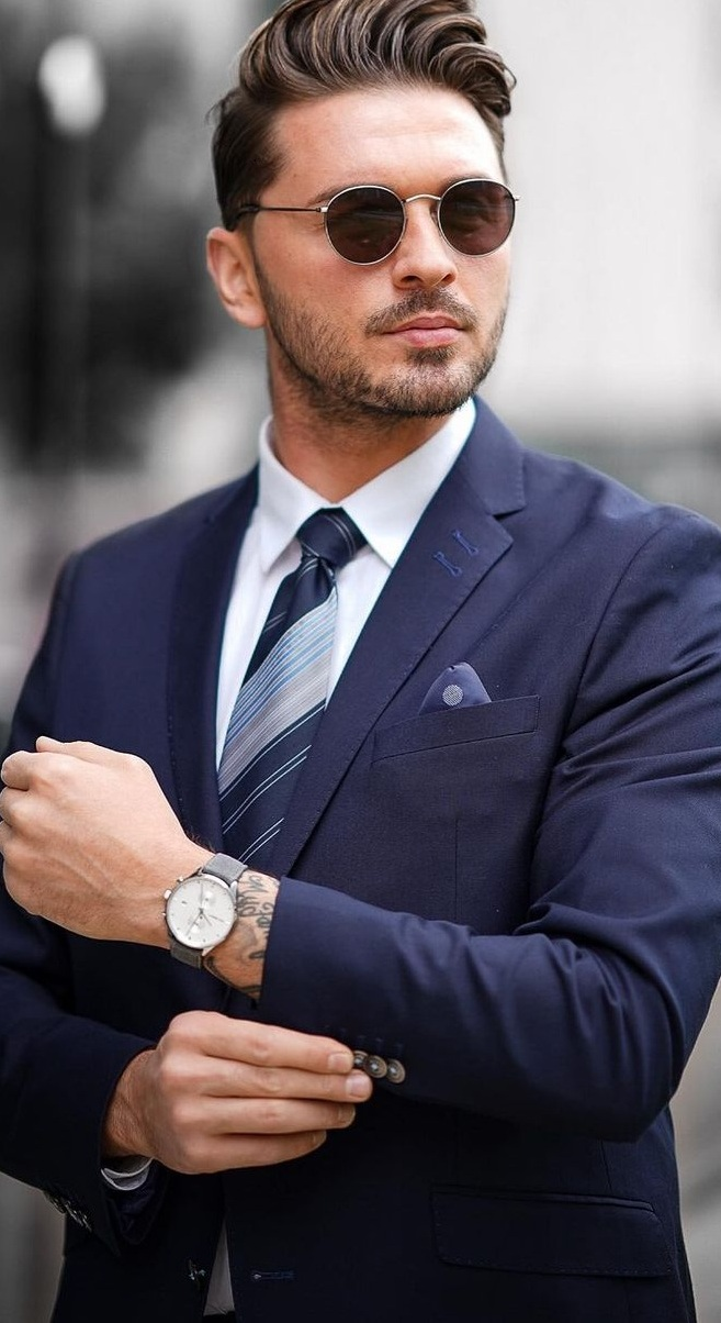 Blue Suit Outfit- Patterned Tie- Stylish Watch- Mens Outfit
