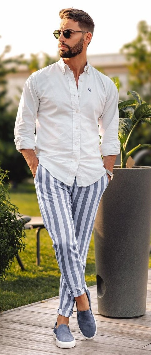 Casual Stripes Pant and White Shirt Outfit for a casual dayout
