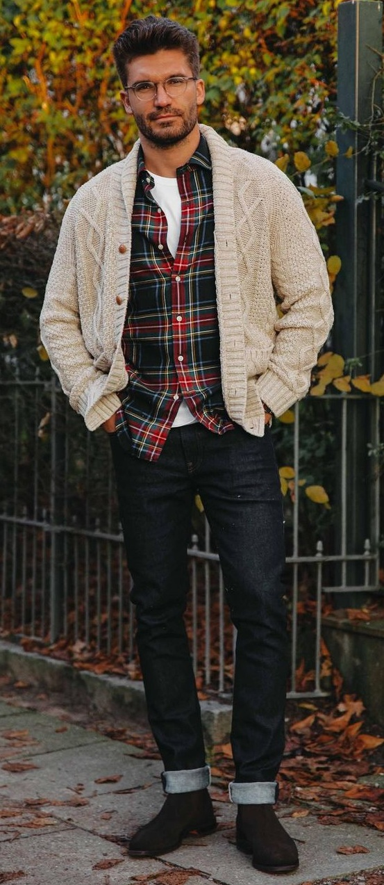 Check Shirt+ Sweater+Denims- Winter Outfit Ideas for Men