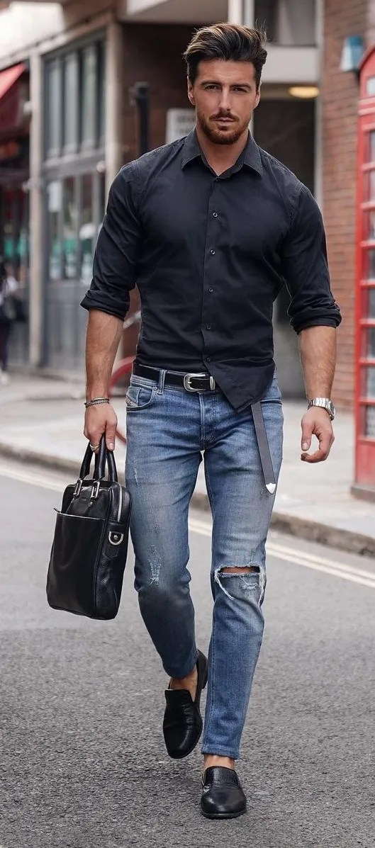 Dope Denim Jeans and Black Shirt Outfit For Men