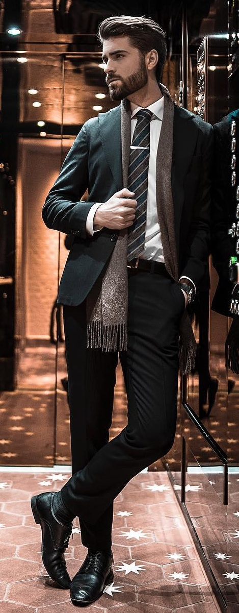 Mens Winter Suit Outfit Paired With Scarf
