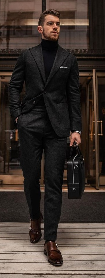 Turtleneck paired with tweed suit outfit for Men