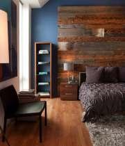contemporary-bedroom-blue-wall-paint-rustic-wood-headboard-brown-bedlinen-pillows-desklamp-nightstand-chair-bench-book-rack-cherry-wooden-laminate-flooring-smooth