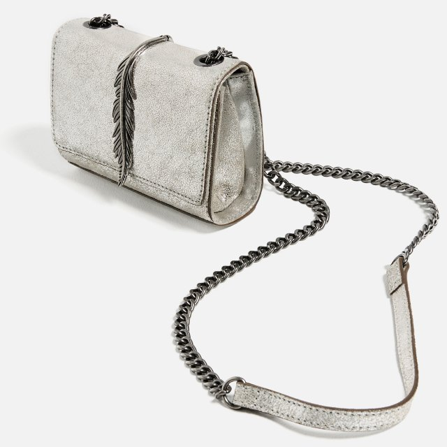silver leather bag Zara