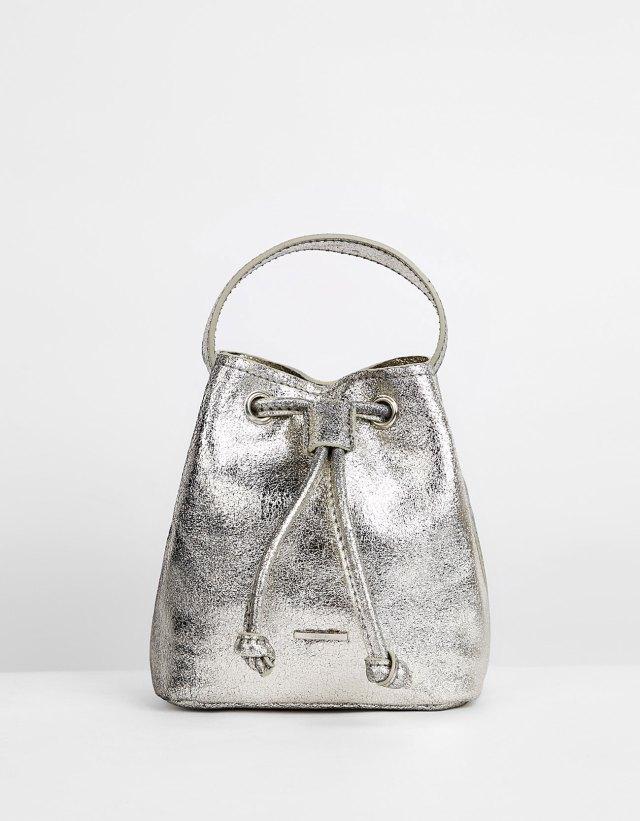 silver leather mini bag