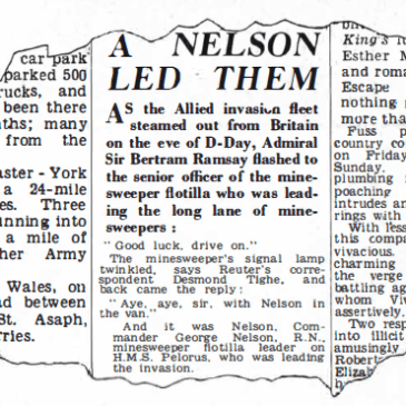 HMS Pelorus news paper article