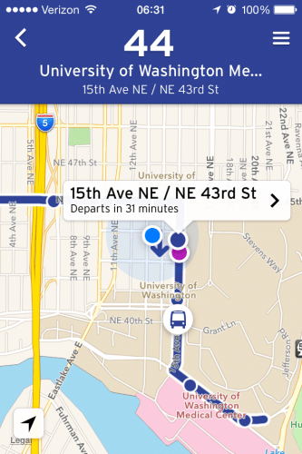 Eastbound 44 on the Transit App.