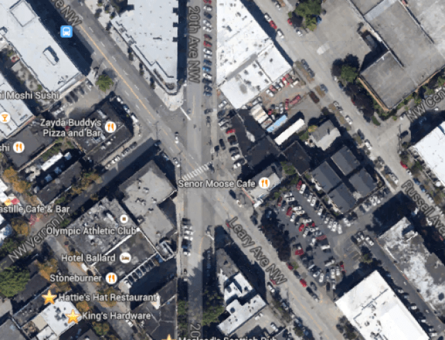 Aerial view of the intersection, the crosswalk has since been moved northwesterly.