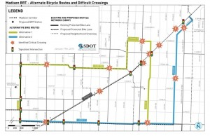 Madison BRT Alternate Bicycle Routes