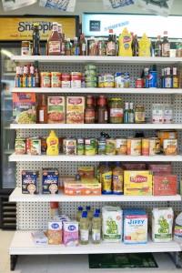 Stocked shelves at the mini-mart