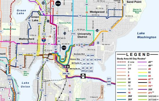 A glimpse at Alternative 1 of the U Link bus restructure plan, courtesy of King County Metro.