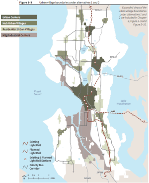 Alternatives 1 and 2 of Seattle 2035