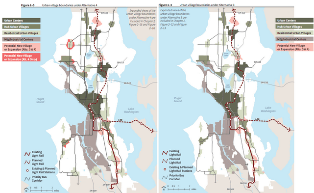 Two proposed growth alternatives for Seattle. Left: Alternative 4. Right: Alternative 3.
